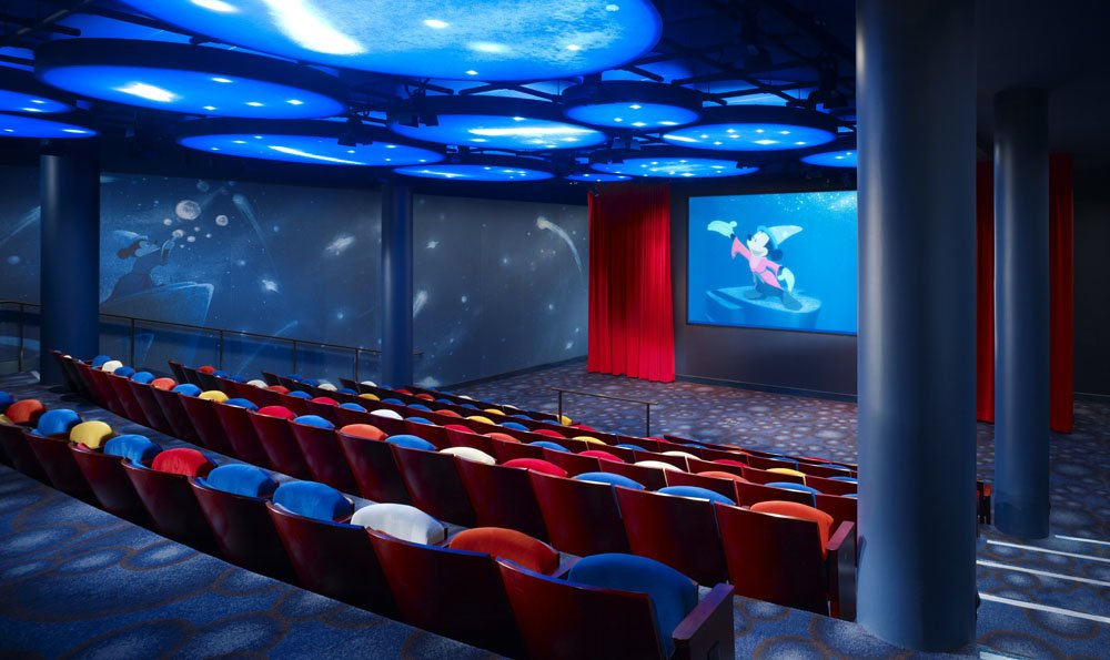A 114-seat, Fantasia-inspired theater regularly screens Disney movies and short films. Image obtained from The Enchanted Manor.