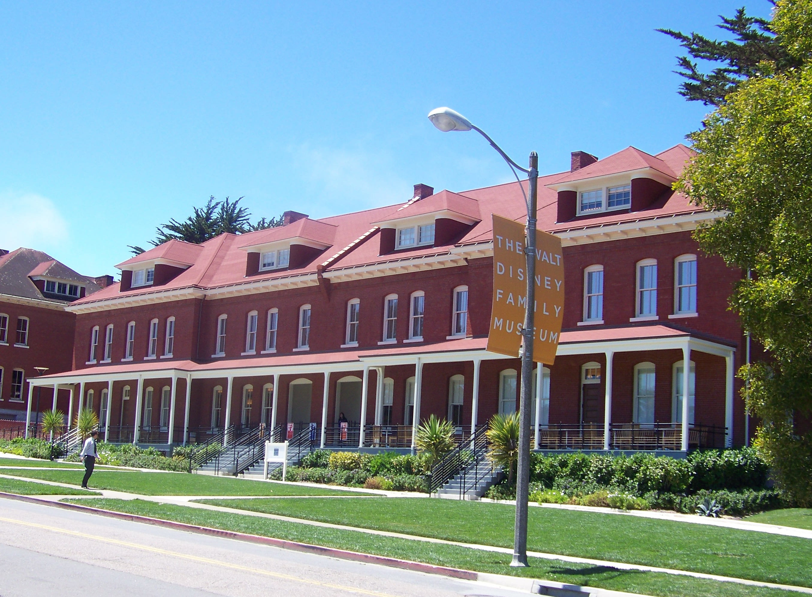 The brick building housing the Walt Disney Family Museum was constructed in 1897 and served as army barracks. Image obtained from Wikimedia.
