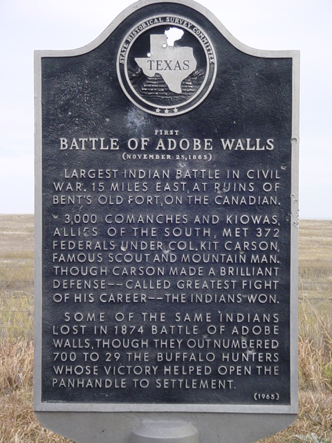 A historical marker for the First Battle of Adobe Walls.