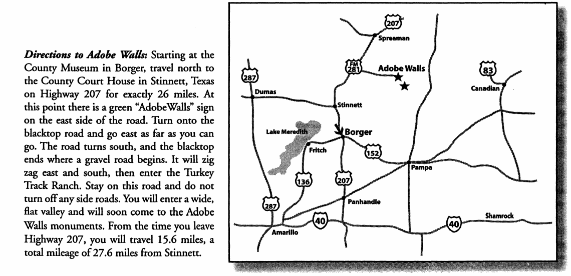 Map and directions to Adobe Walls, Texas.