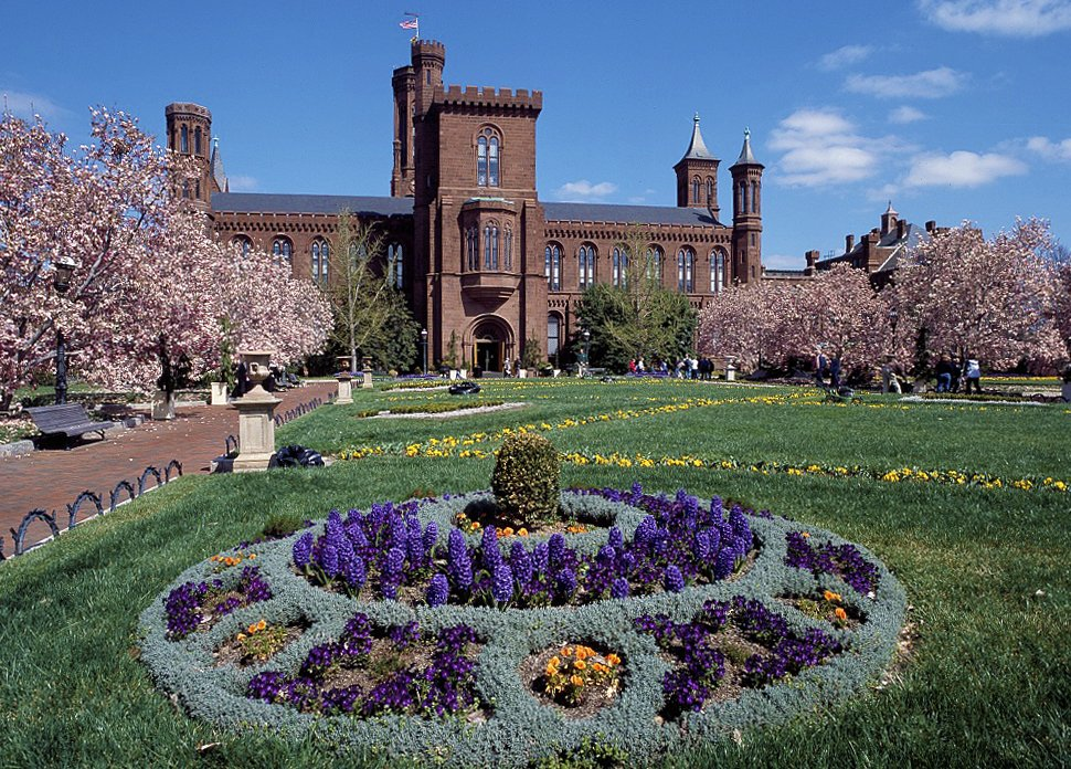 Springtime at the Castle in the Enid A. Haupt Gardens. Photo by Carol M. Highsmith, Library of Congress.