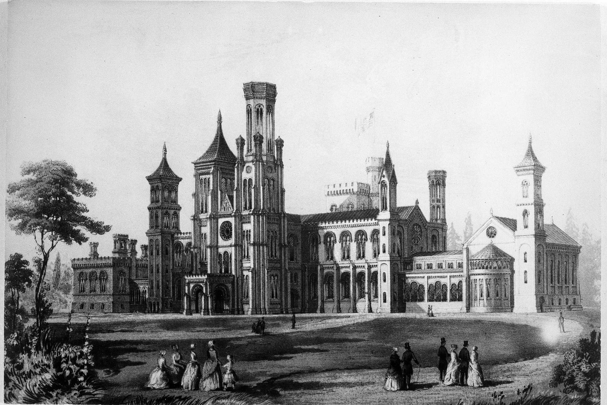 An engraving depicting the new Smithsonian Institution Building. Courtesy of the Smithsonian Institution Archives.