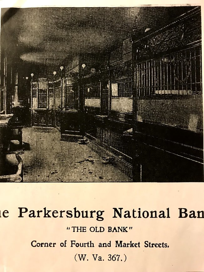 Parkersburg National Bank in the hotel (now where the Starbucks is)
