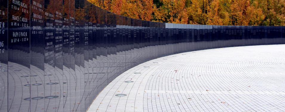 The 366 black granite panels bear the names of those who were killed or missing.