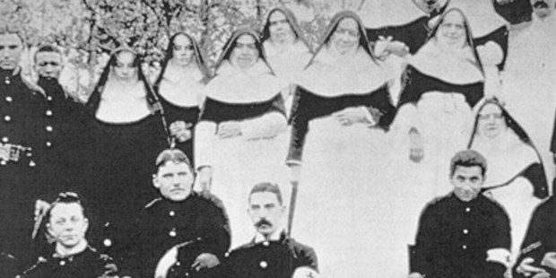 Nuns with several Union soldiers. Prior to the war, the Catholic church was much maligned in the predominately Protestant culture of the United States. The Catholic sisters' battlefield service did a great deal to rehabilitate that image.