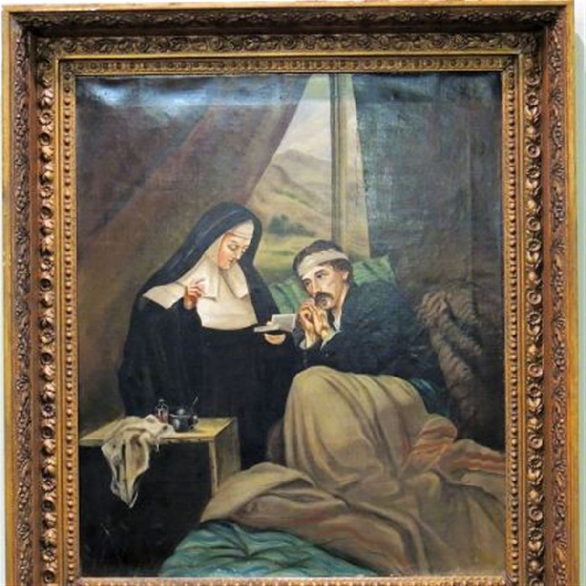 A Catholic Sister of Mercy comforts a Union soldier in a painting allegedly commissioned by Abraham Lincoln. Sisters, who could only serve as unpaid volunteers assisting the surgeons of both armies, were praised for their fortitude and discipline.