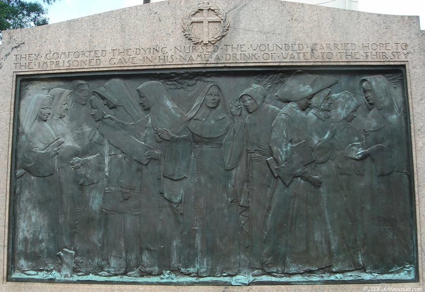 Close up of the memorial's front, which depicts 12 Catholic sisters. Nuns first served in an officially-recognized (and much praised) battlefield capacity with Florence Nightingale during the Crimean War of the 1850s.