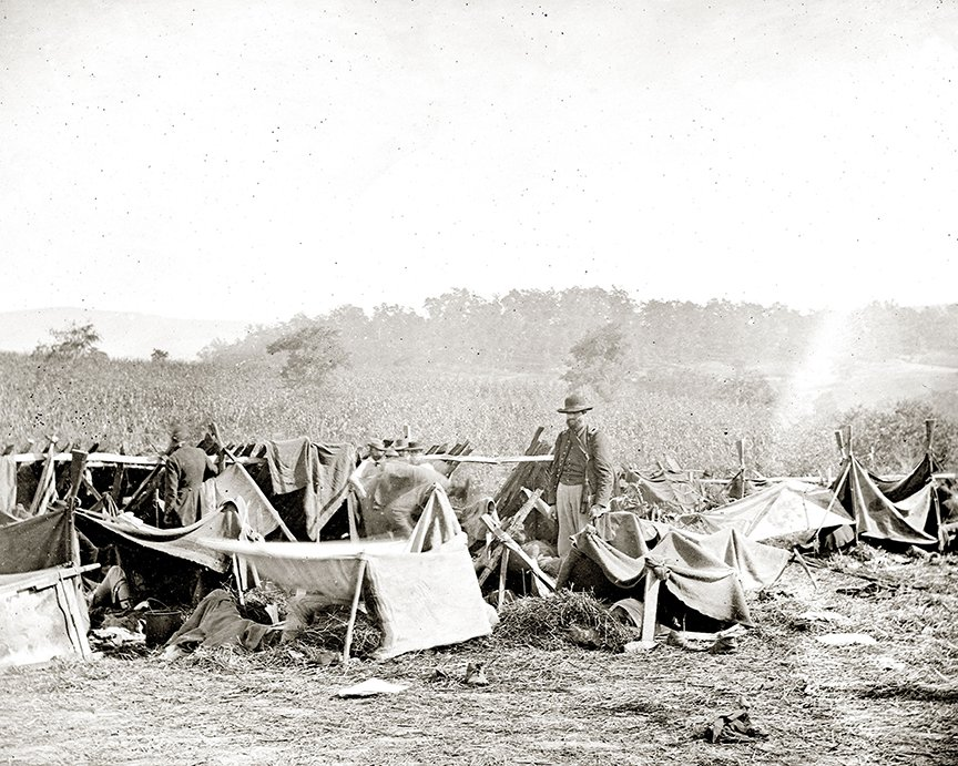 Field hospital at Smith's Barn where doctors cared for Confederate wounded. Library of Congress.