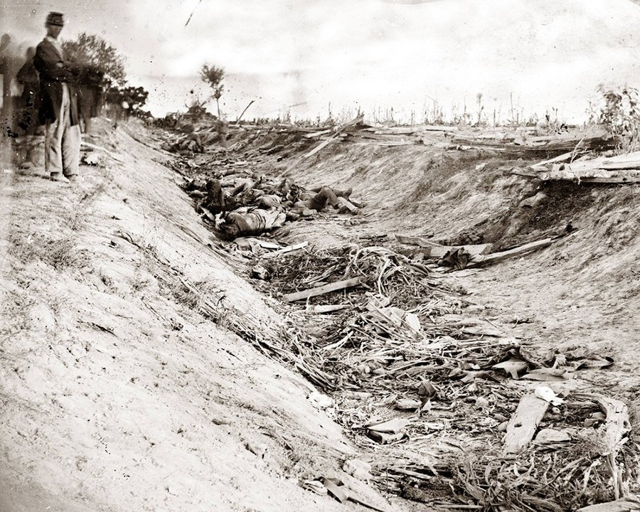 "The Sunken Road, or ""Bloody Lane,"" offered a natural trench for defensive Confederate forces. 3,000 Union and 2,600 Confederate were killed or injured at this site. This image looks east from the north bank. Library of Congress."