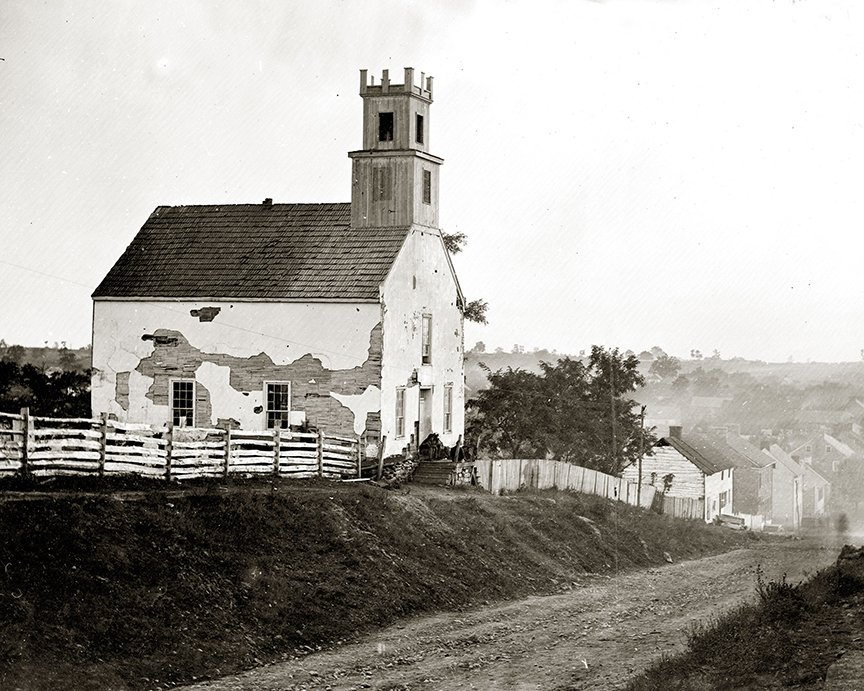 The heavily damaged Lutheran Church, built in 1768, on the east side of Sharpsburg. It was damaged by Union artillery and demolished after the battle. Library of Congress.
