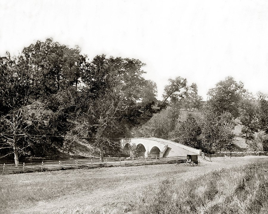 A view of Burnside Bridge taken from the same perspective of Union Major General Ambrose Burnside, who managed to seize the bridge after a long and cumbersome conflict. Library of Congress.