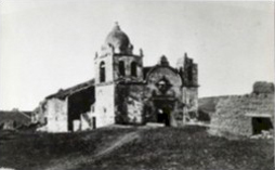 1880s photo of the Mission Carmel ruins. San Carlos Borromeo is the only Mission to retain its original bell and belltower.