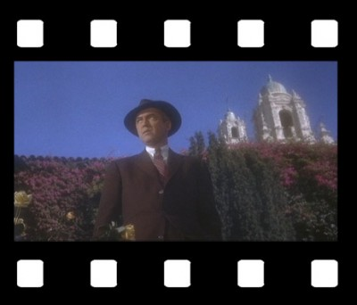 VERTIGO, with mission tower in background (James Stewart)