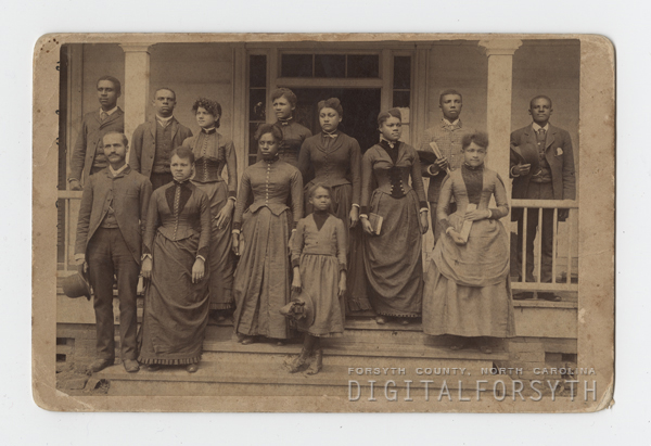 circa 1900. Dr. Atkins (front row far left) with students from Slater Industrial Academy.