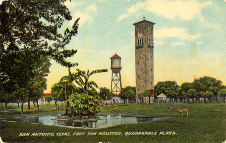 Quadrangle Plaza, Fort Sam Houston (postcard, circa 1890–1924)
