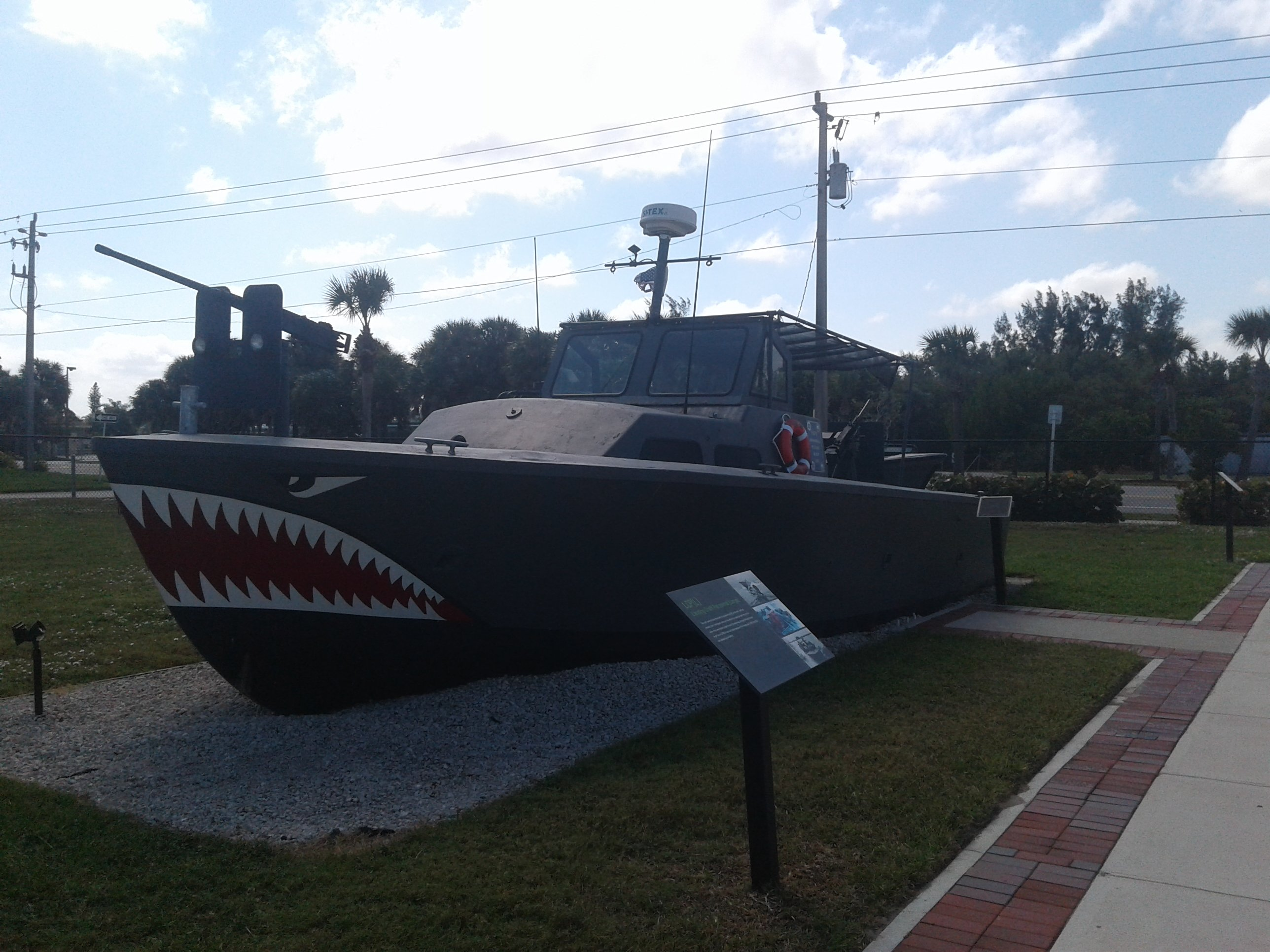 One of the boats on display that had been used by SEAL operatives.