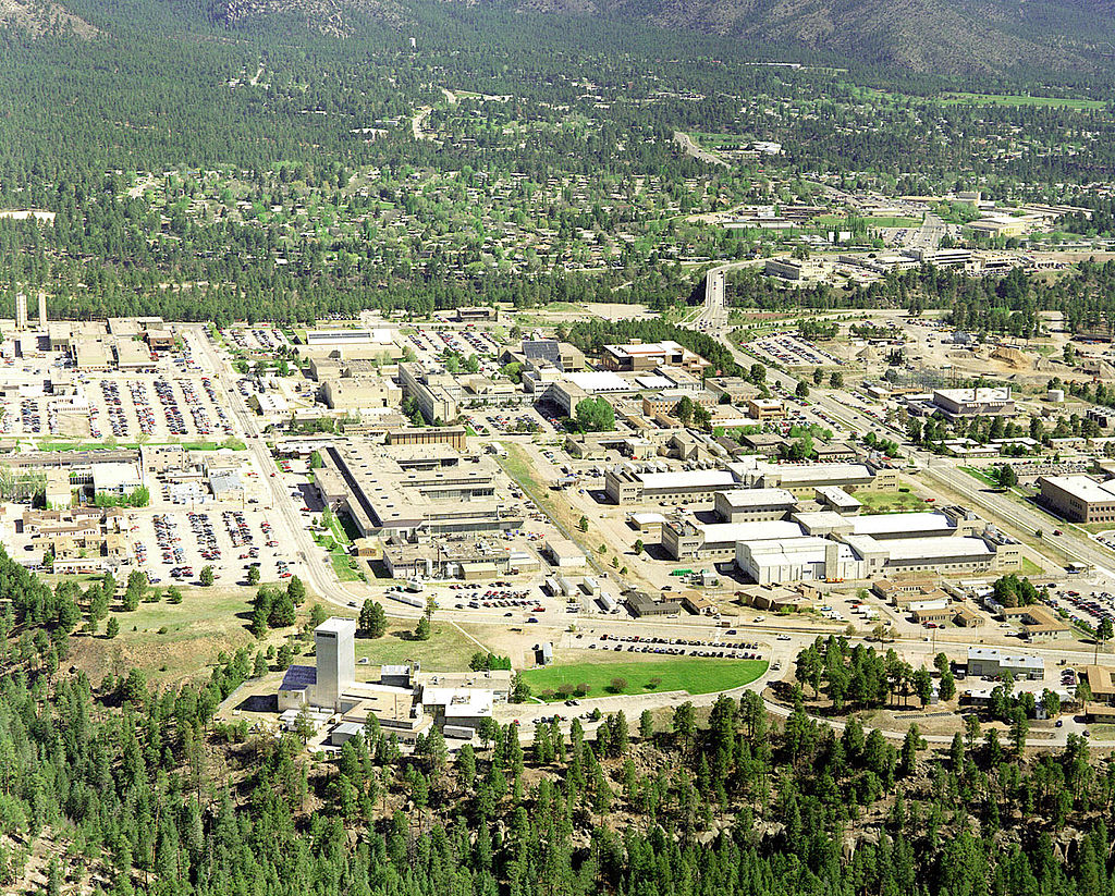 An aerial view of the Los Alamos National Laboratory.