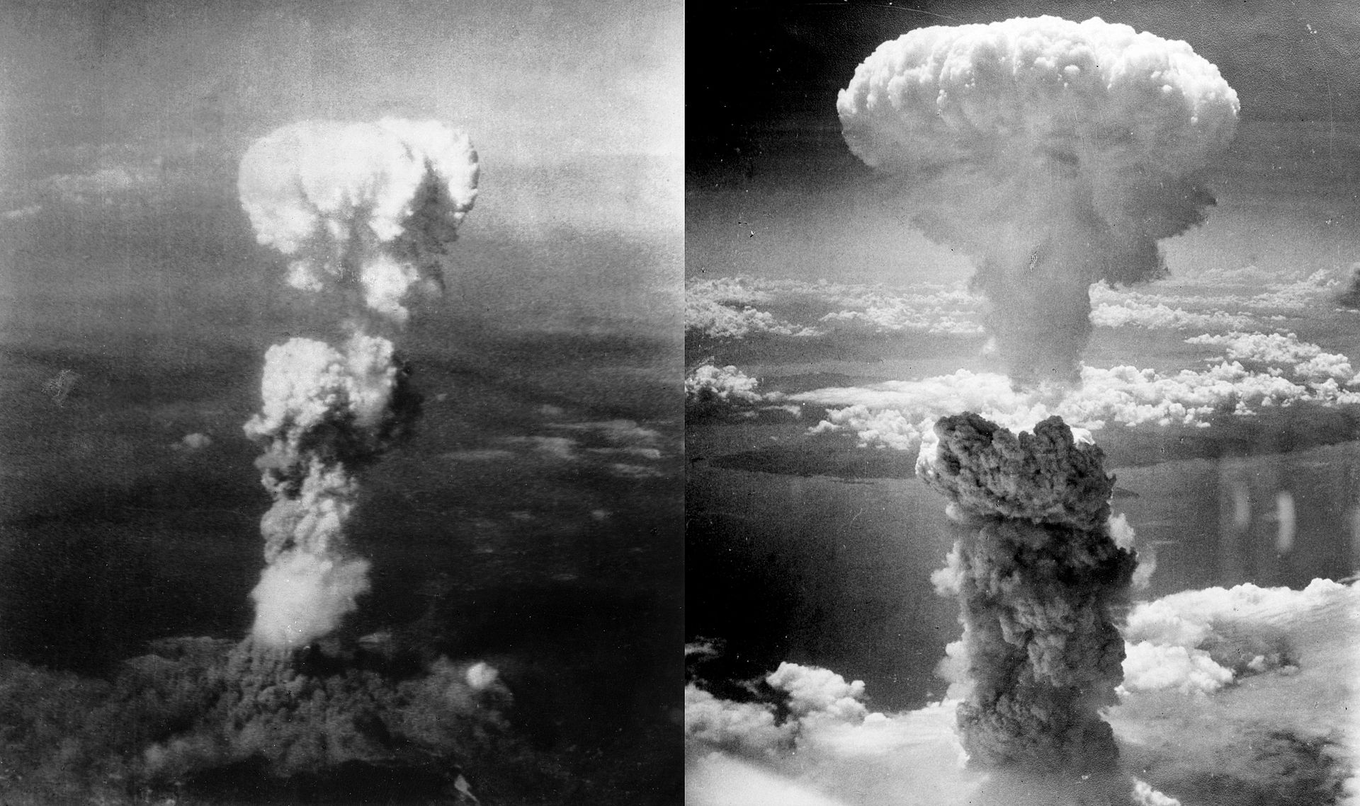 Little Boy explodes over Hiroshima, Japan, on August 6, 1945 (left); Fat Man explodes over Nagasaki, Japan, on August 9, 1945 (right). An estimated 120,000 people were killed as a result of the bombings.