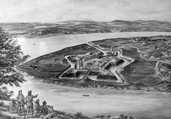 Credit: Courtesy the Pennsylvania State Archives - An artist's rendition of Fort Pitt as it appeared around 1776.