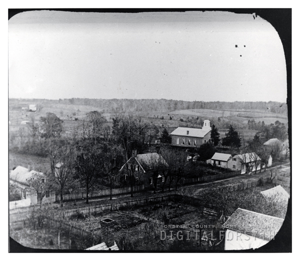 late 1800s bird eye's view of Old Salem. Church on right