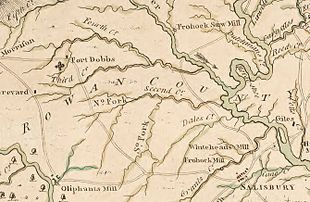 1770 map with location of fort marked