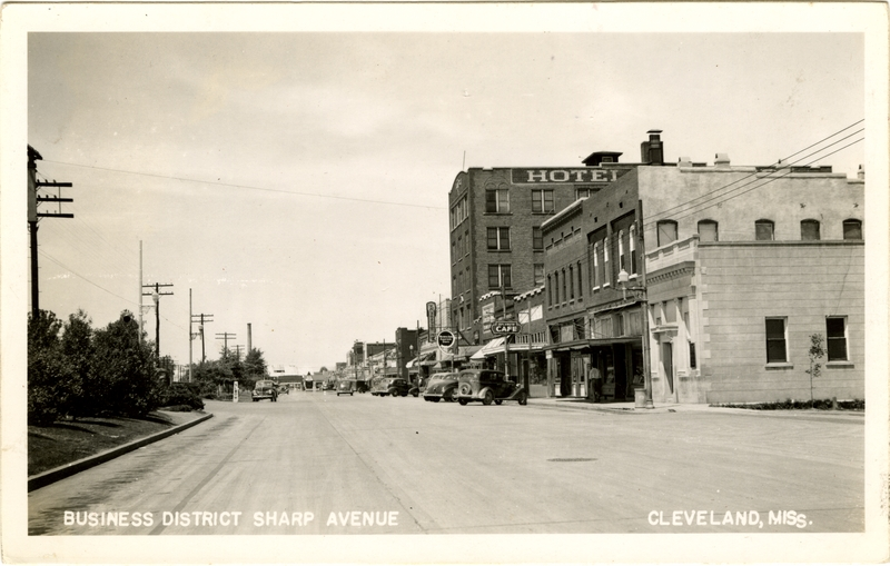 """Business District Sharp Avenue, Cleveland, Miss.""