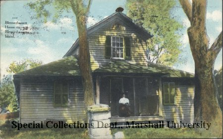 1911 color postcard of Blennerhassett House on island. Courtesy of Marshall University Special Collections.