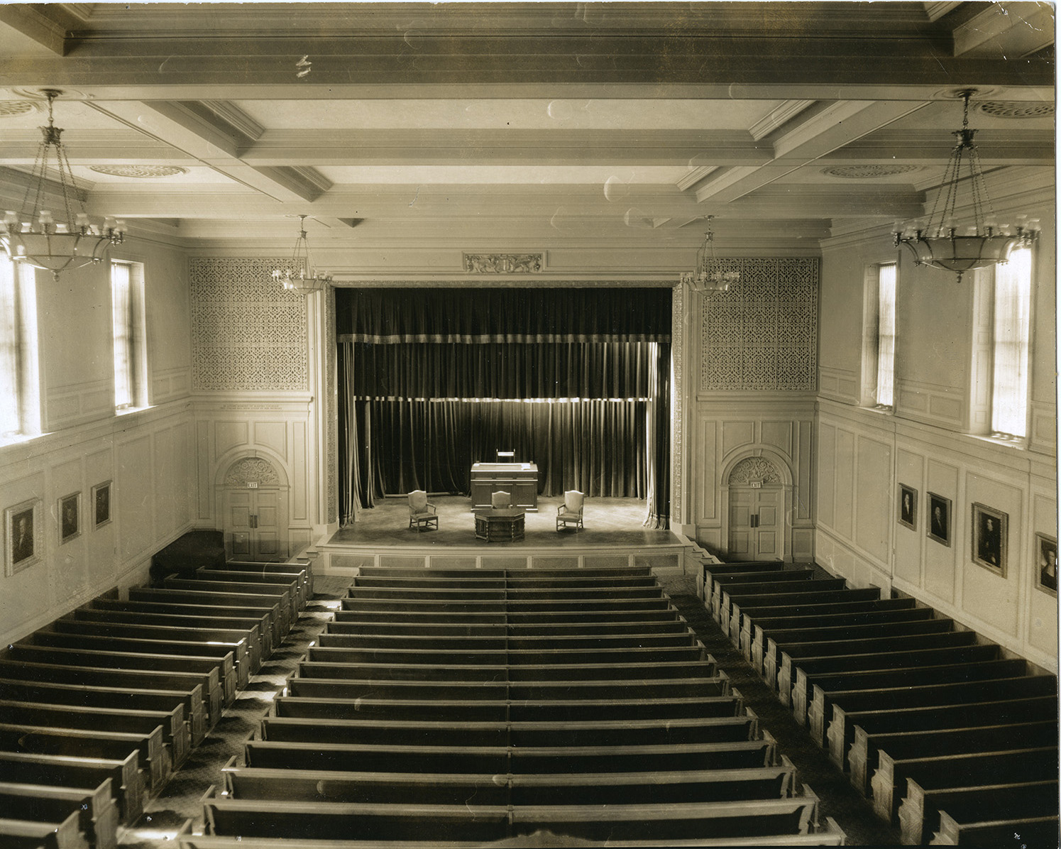 George Washington Hall interior, 1927. Photograph by Peter A. Juley and son.