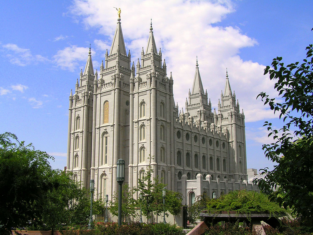 The Salt Lake City Temple was completed in 1893 after decades of construction. It is the fourth temple built in the state.