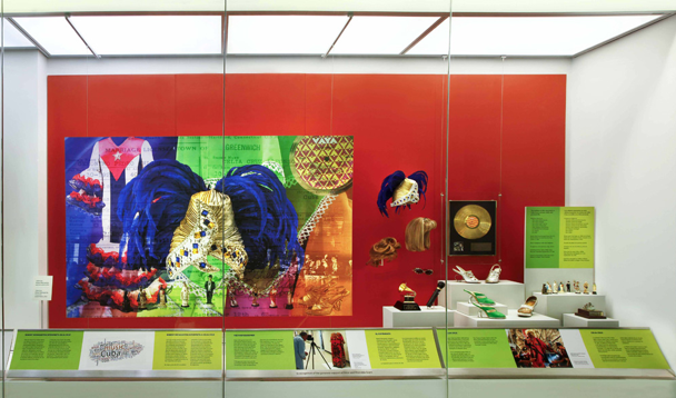 This is an image of some of the artifacts at the Celia Cruz at the Smithsonian. This includes pieces of her attire.