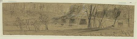 Sketch of a burning bridge over the Rivanna river by Custer's men.