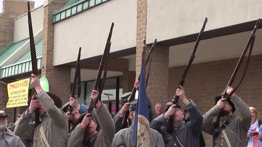 Reenactors during the 150th anniversary of the skirmish.