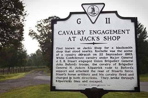 Marker commemorating the Battle of Jack's Shop
