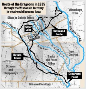 Route of the Dragoons in 1835