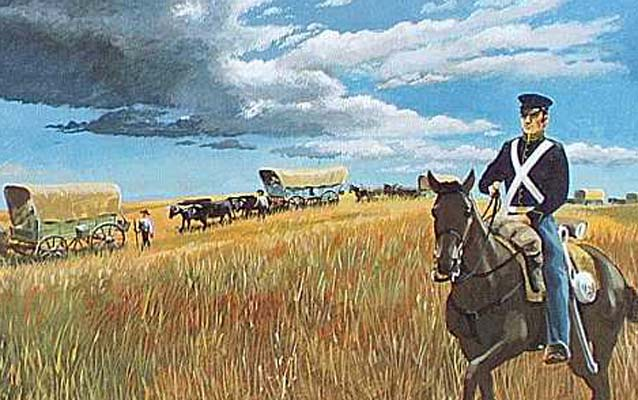 Depiction of a Dragoon Soldier Escorting a Wagon Train