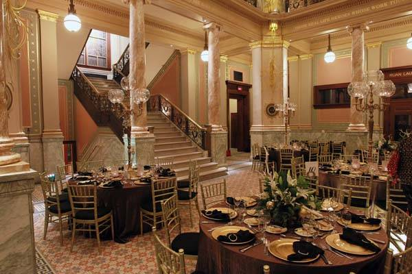 The dining room showcases the building's Beaux-Arts style