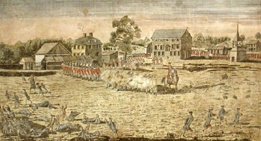 Amos Doolittle's illustration of the Battle on Lexington Green, 1775 (Courtesy of Signs of the Times)