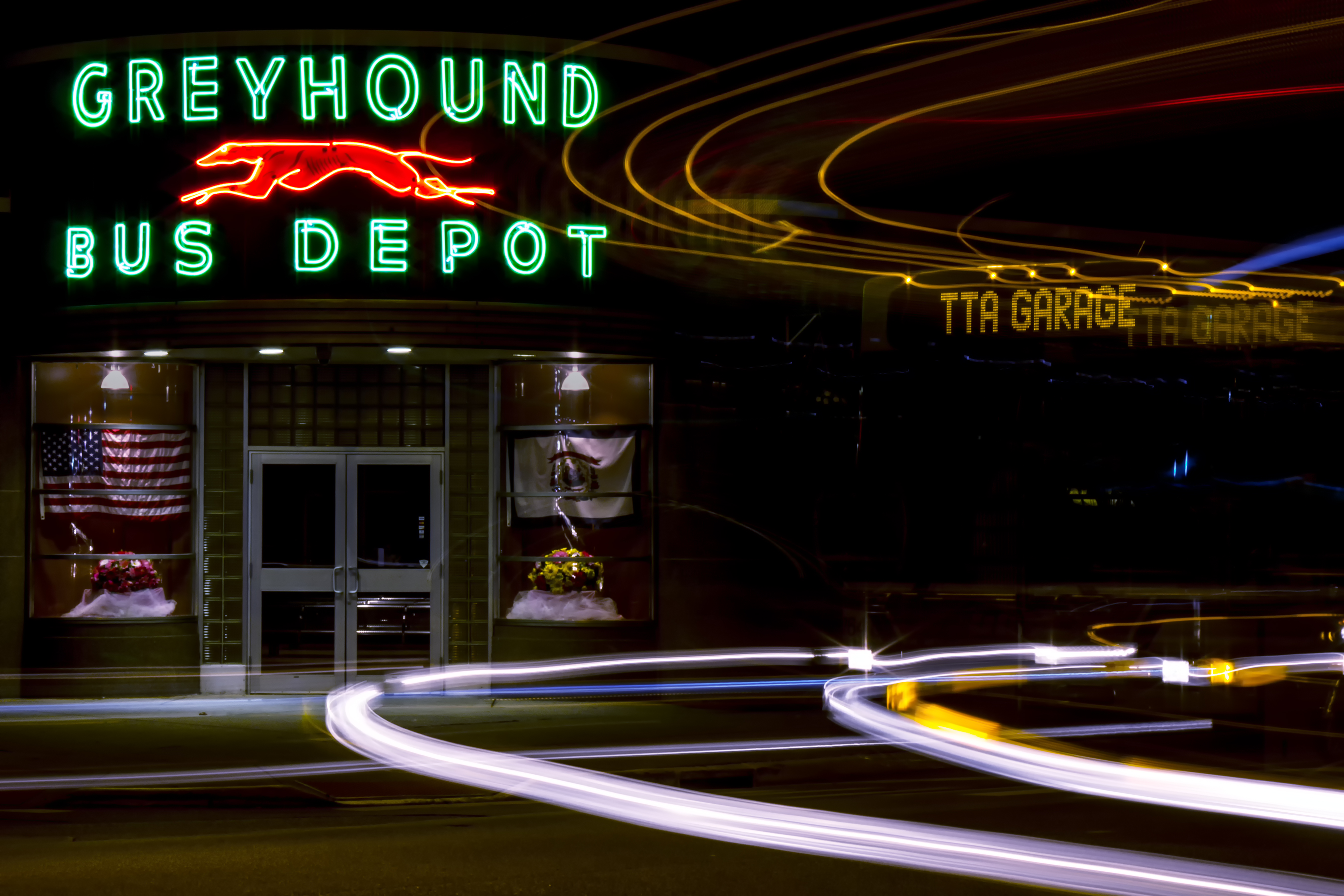 Greyhound Station, Huntington, WV. The building is used as a terminal for the Tri-State Transit Authority (TTA) -- which runs local busses during the day and night -- the Greyhound.