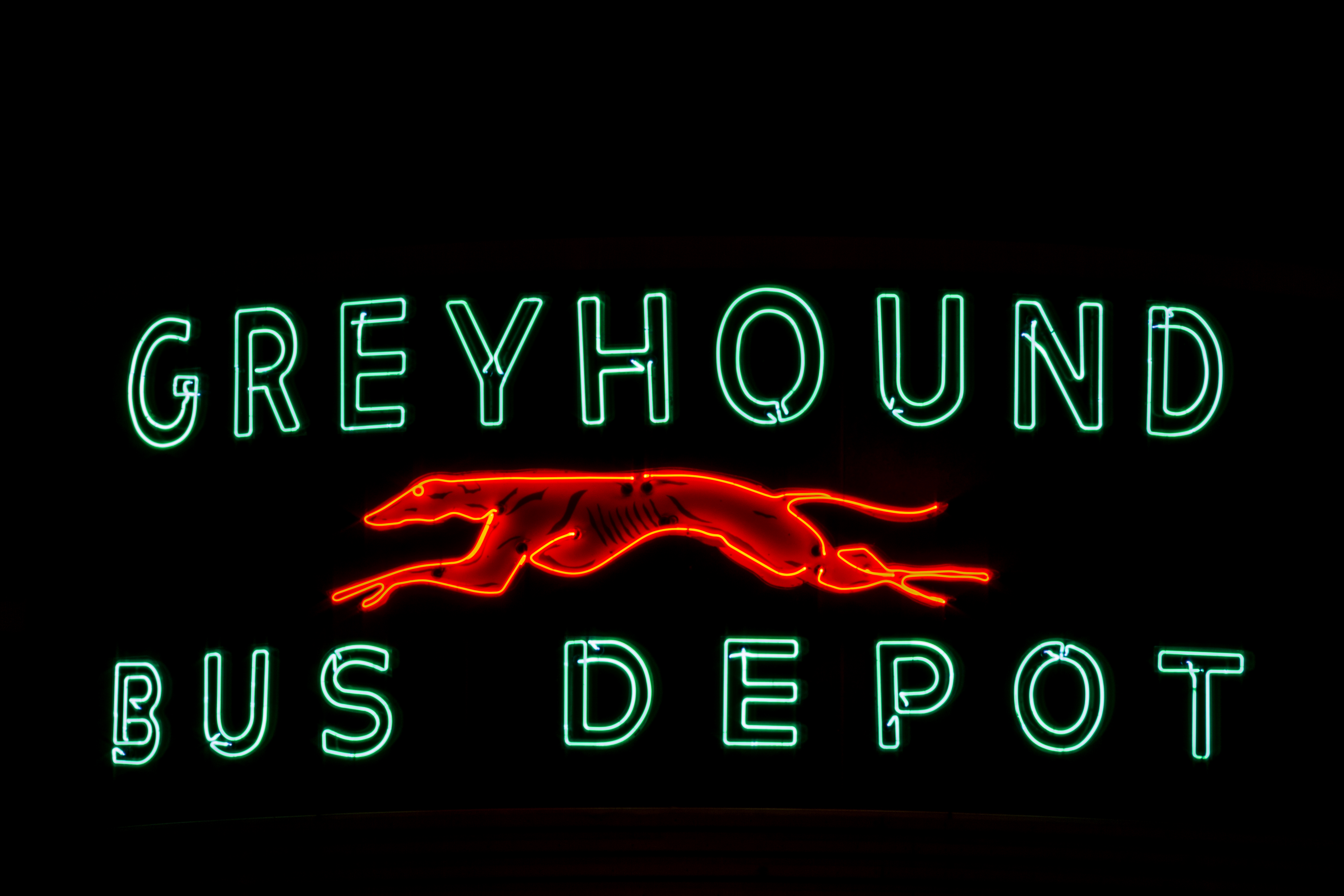 Original Greyhound neon light that is maintained by the TTA for its historical significance and beauty,