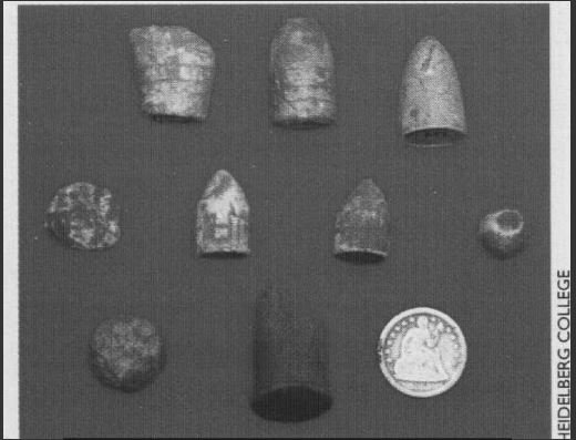 Civil war artifacts found on Buffington Island battlegrounds by Heidelberg College archaeological excavation in 1999.
