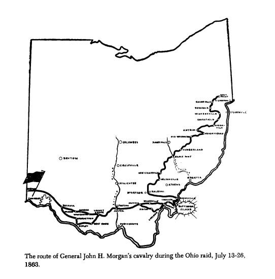 Map of Confederate General Morgan's raid through Ohio that climaxed with his defeat at the Battle of Buffington Island.