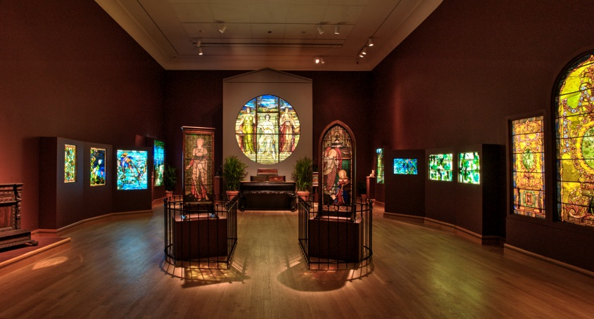 Several of Tiffany's windows on display at the museum