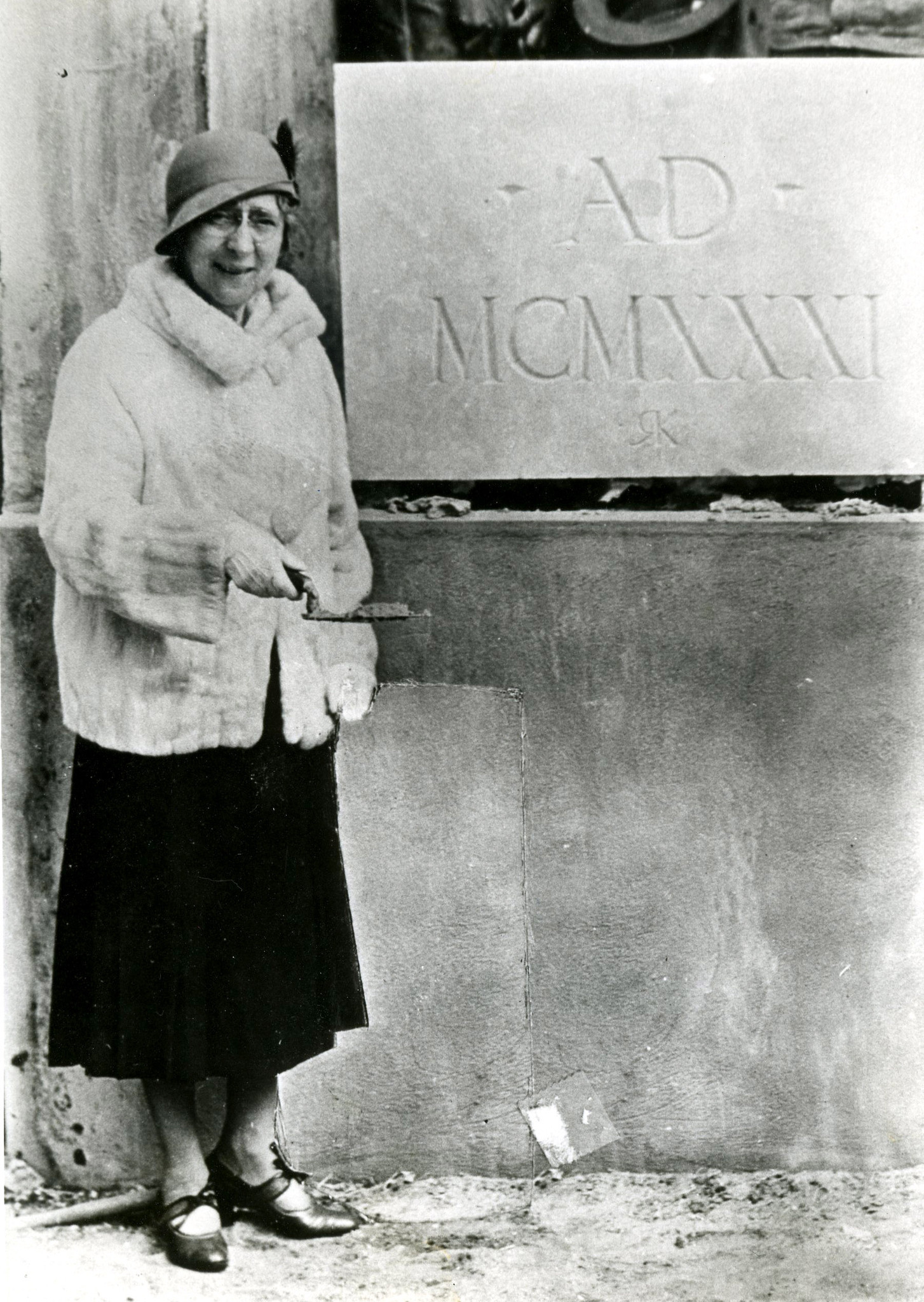 Annie Russell in 1931, at the the ceremony commemorating the laying of the cornerstone for the new theater