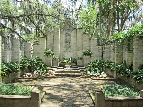 The center contains three gardens including this one, which is the Mayan Garden. The gardens are popular spots for weddings.