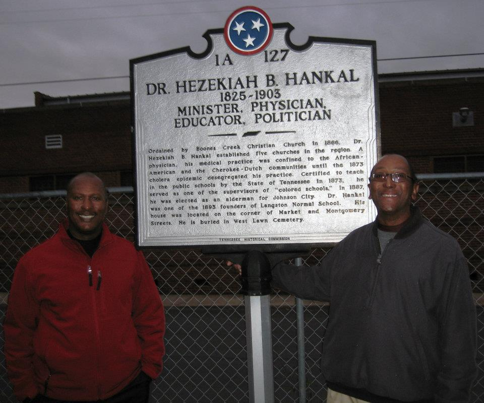 Marker about Hankal. Descendants pictured with marker. 2012