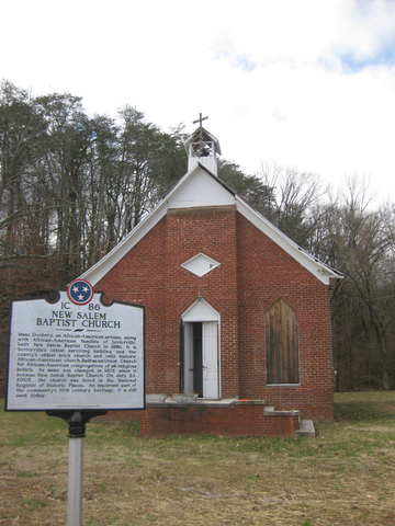 New Salem Church and historic marker.
