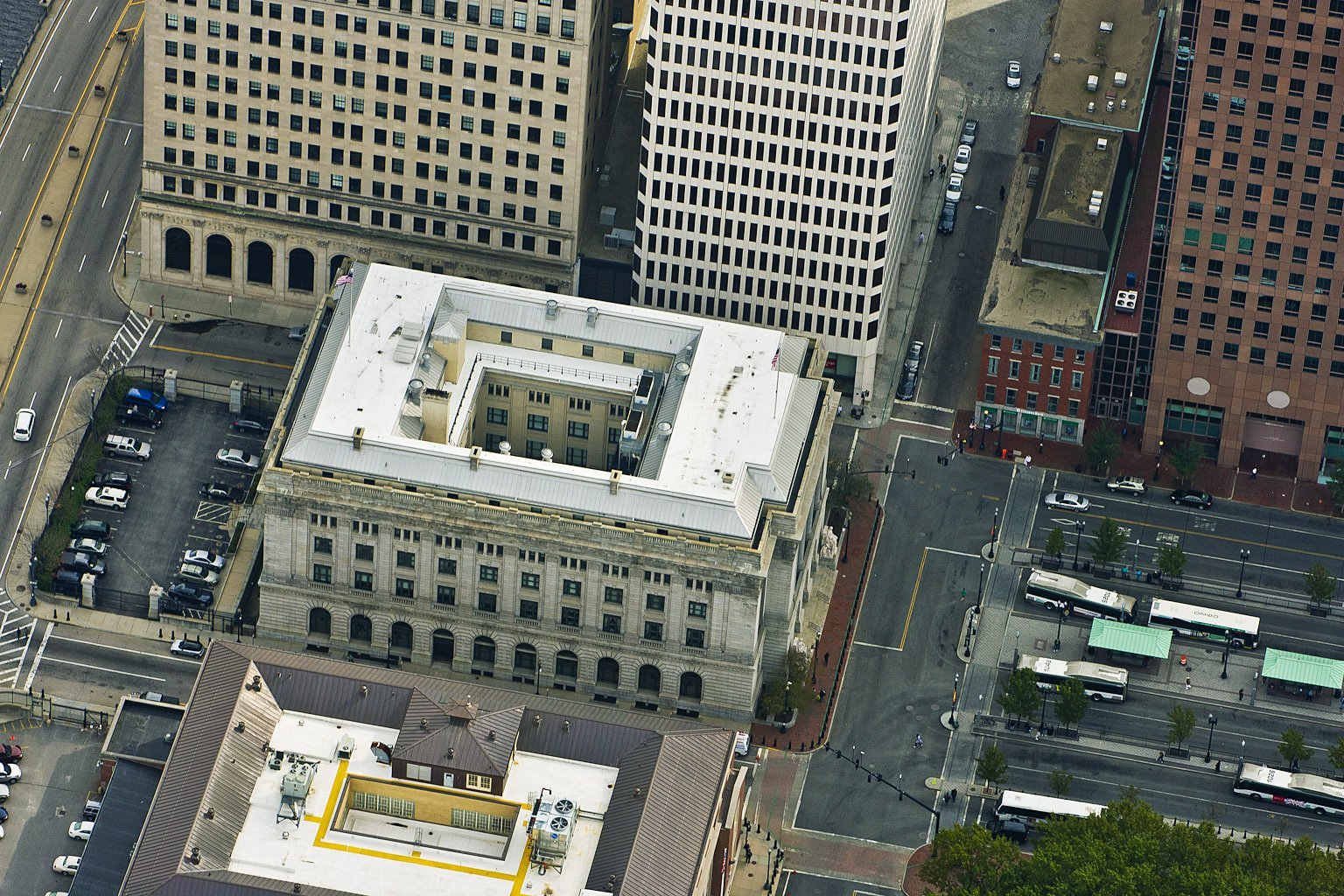 Aerial Image of the Federal Building (Courtesy of Firestone Building Products)