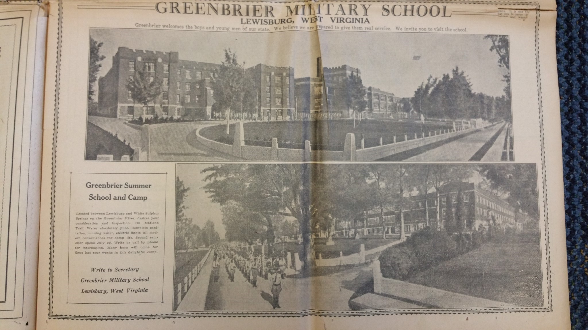 Photo of Greenbrier Military School found in newspaper located in Marshall University Special Collections vertical files.