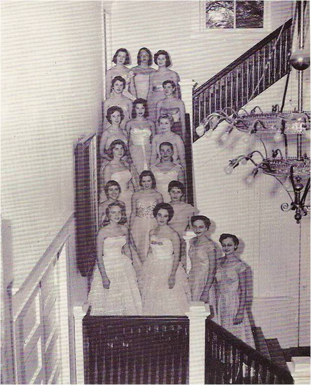 The 1959 Greenbrierettes, a select vocal group, standing on the foyer staircase in Carnegie Hall.