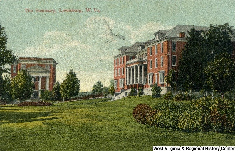 A postcard from the early 1900s featuring Carnegie Hall and the original Greenbrier Hall.